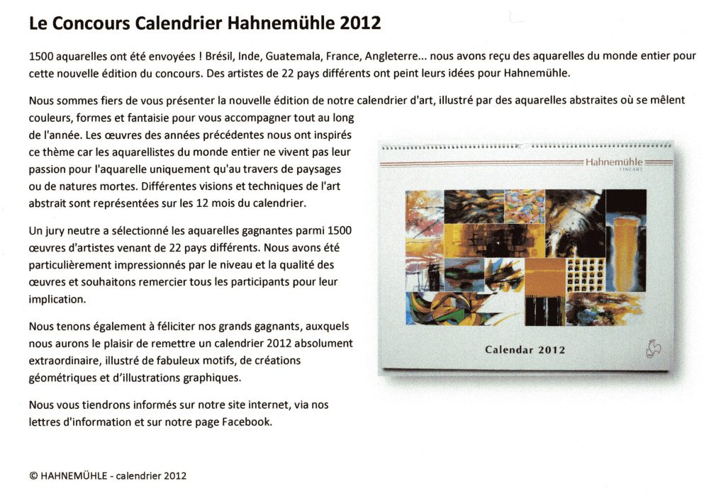 Le Concours Calendrier Hahnemühle 2012