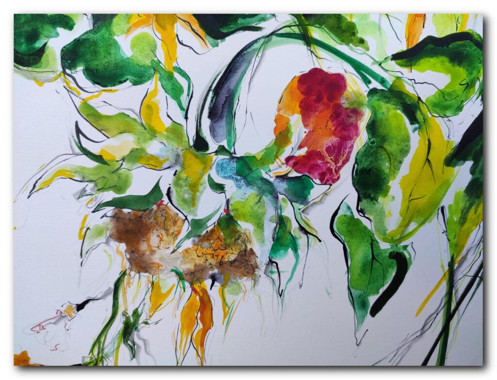 ND - Eliane Karakaya (c) - Tournesol - 2020 - Peinture sur papier